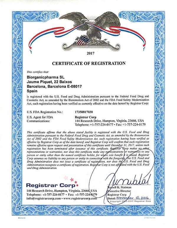 BiorganicPharma | FDA Certificate